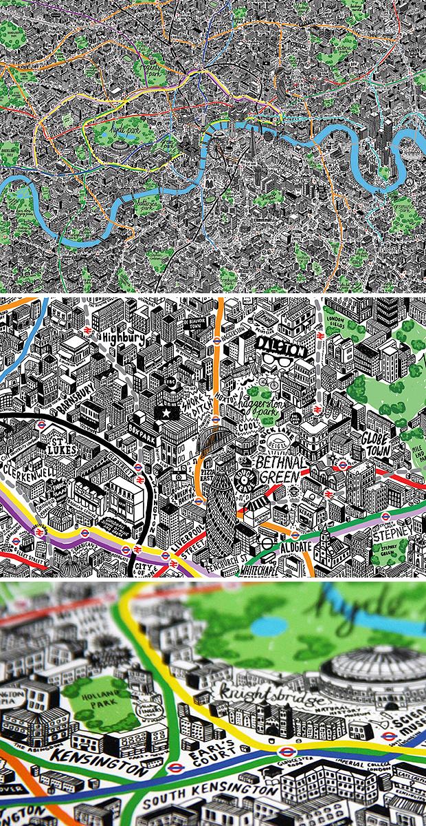 London kézzel rajzolt térképe (designboom.com)