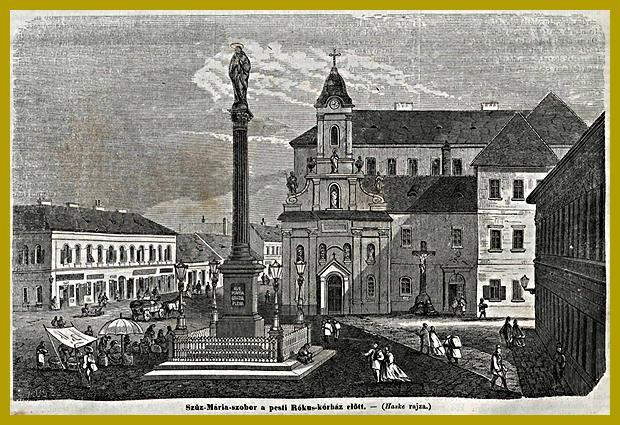 Mária-oszlop a Rókus Korház előtt