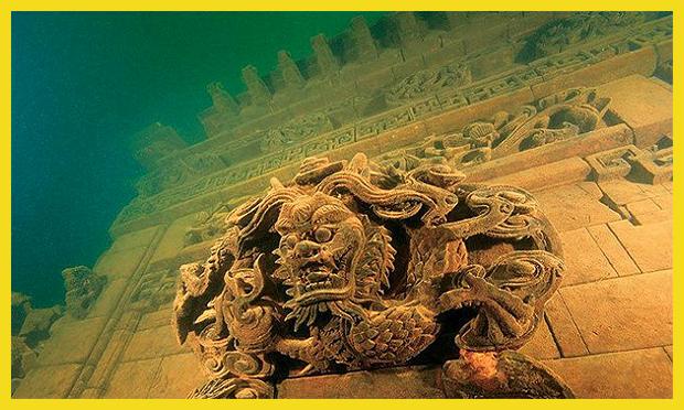 ősi város a tó fenekén, Kína
