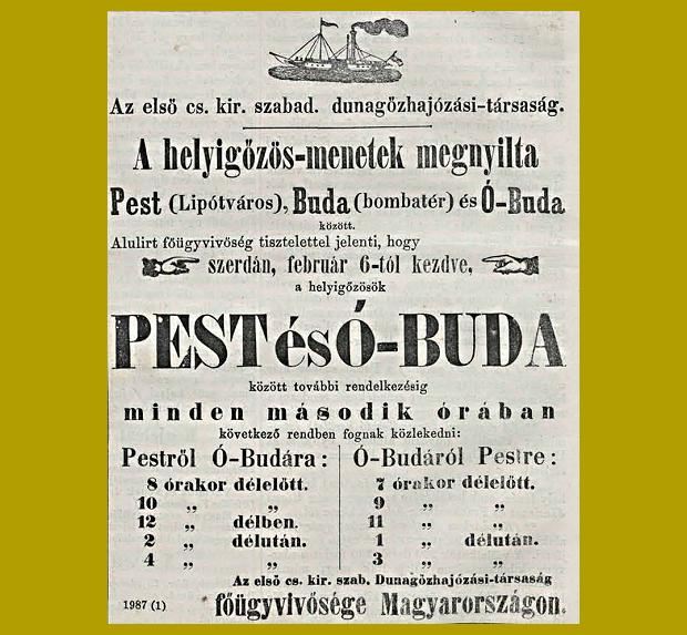 menetrend a Dunán, 1867. február - Vasárnapi Újság