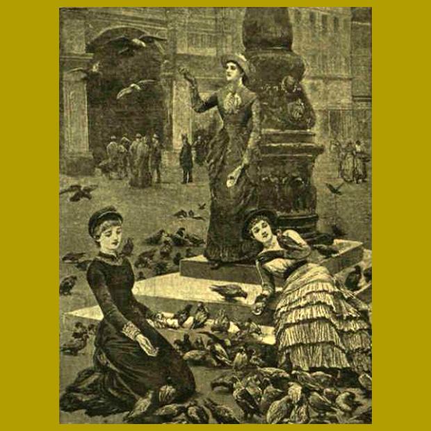 galambok a Szent Márk téren - újdonság: a pillanatnyi mozdulatot is megörökítő fénykép 1884.