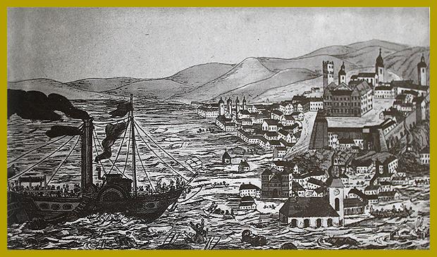 A fedél nélkül maradtak áthajózása Pestről Budára, 1838.