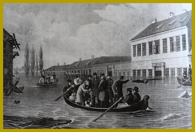 István főherceg embereket ment az Üllői úton, 1838. március.