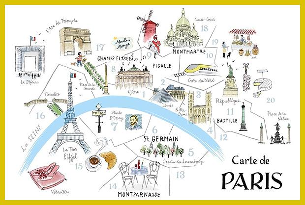 Párizs, térkép - illusztráció