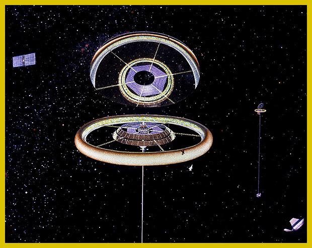 """körgyűrű alakú űrváros a fölötte """"lebegő"""" hatalmas tükörrel"""