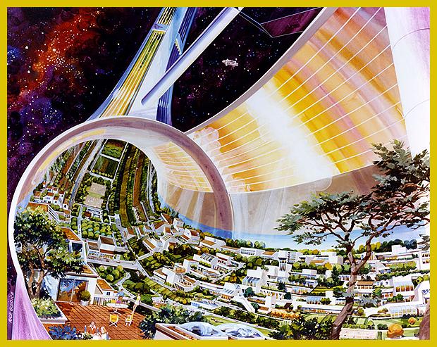 az űrkolónia 1970-es években készült tervei