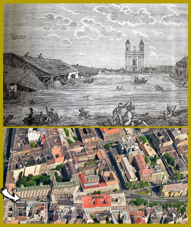 A józsefvárosi Stáció, ma Baross utca 1838-ban.