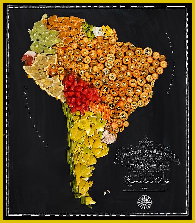 Dél-Amerika déligyümölcsökből - ételtérkép