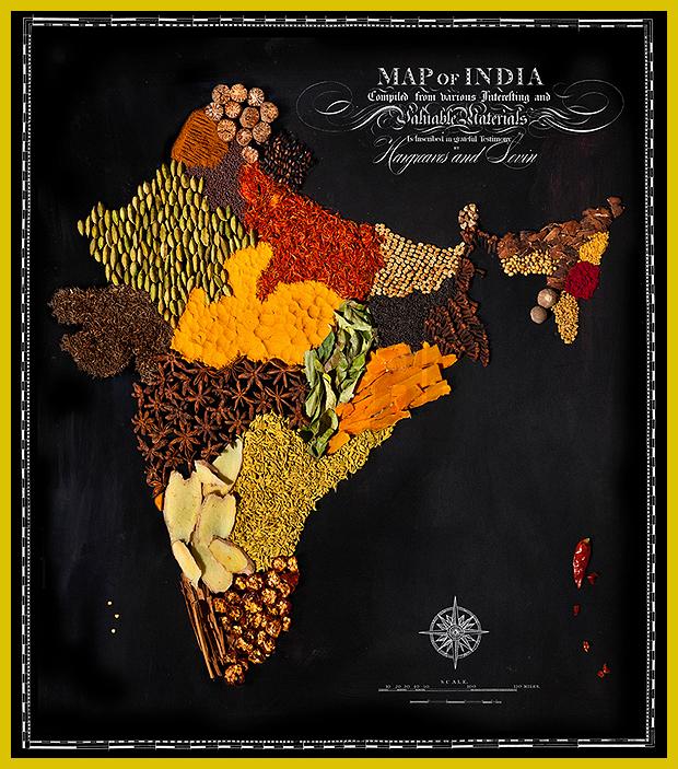 India térképe indiai fűszerekből