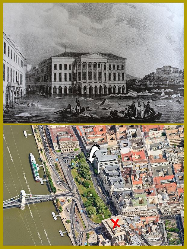 A Kereskedelmi Csarnok, később Lloyd-palota a mai Széchenyi téren, 1838.