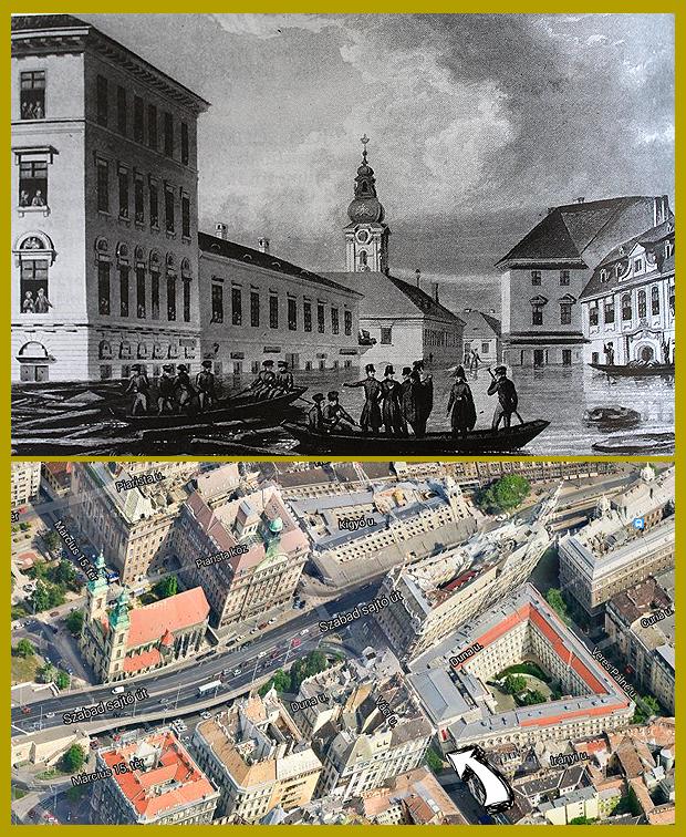 A pesti Rózsa-piac, a mai Duna utca és Váci utca kereszteződésénél kialakított téren, ami az Erzsébet-híd építésekor szűnt meg.