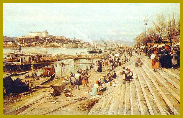 Bruck Lajos: Buda látképe - a rakpart felől, 1885.