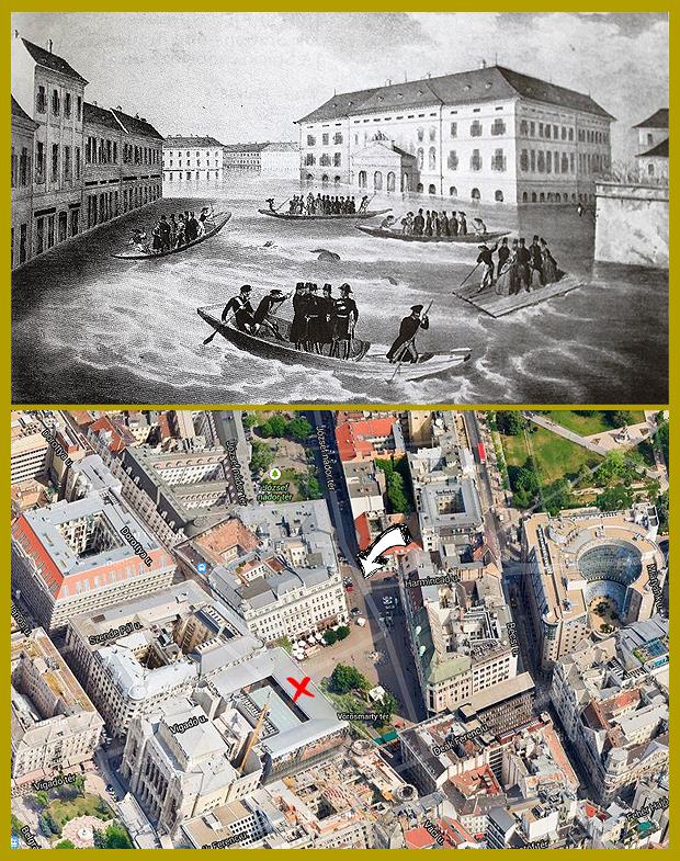 Az egykori Színház tér a Német Színházzal az árvíz idején.