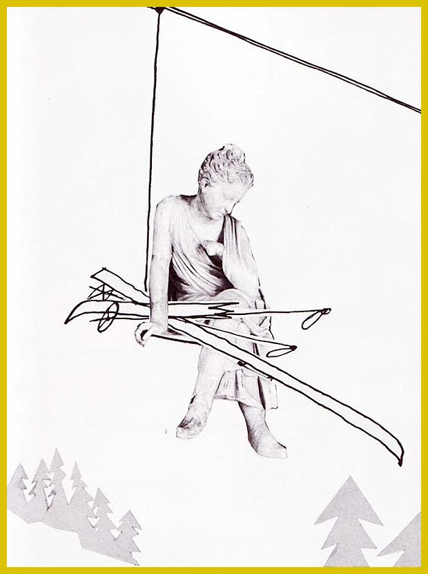 márványszobor a sífelvonón - az eredeti Ülő lány alkotás Rómában a Palazzo dei Conservatori-ban látható - M. Sasek ifjúsági könyve 1961.