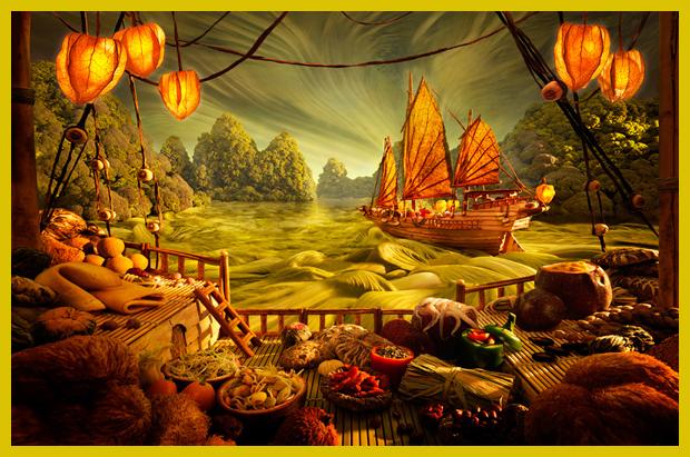 kínai hajó a saláta tengeren - ételtájképek