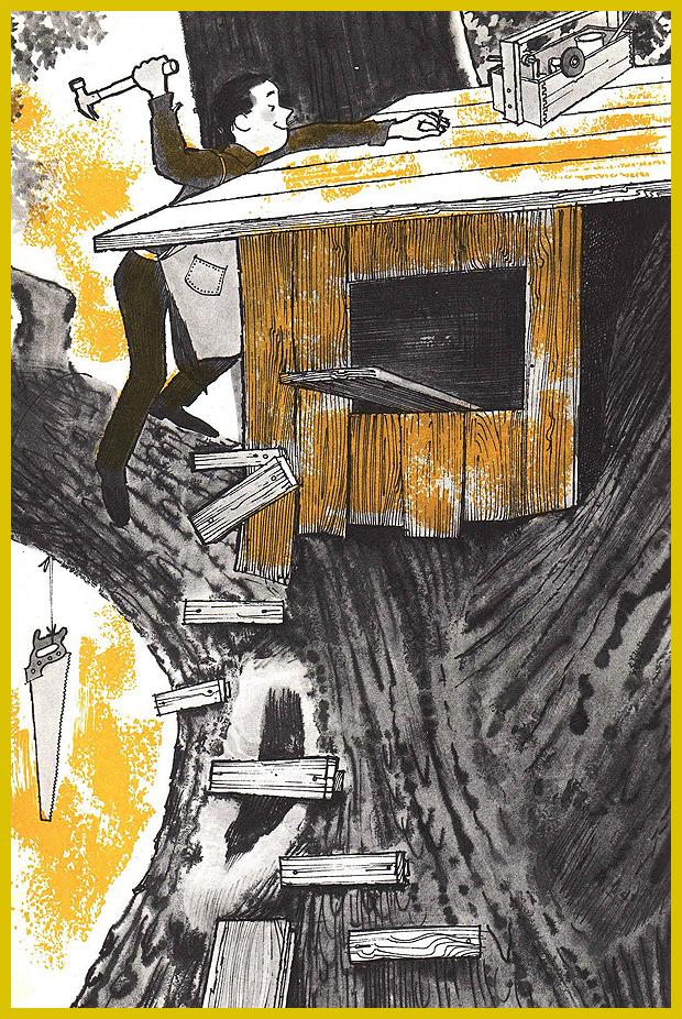 épül a kerti kis ház a fa tetején - illusztrációk egy gyermekkönyvből