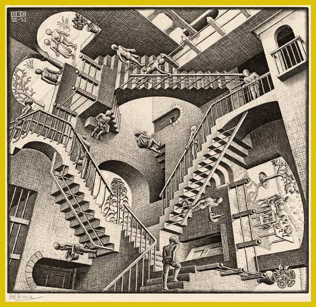 1953. Relativitás, litográfia - M.C. Escher