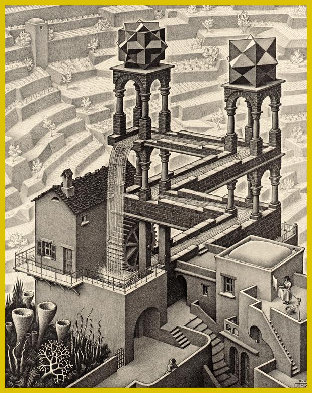 Vízesés, litográfia, 1961. - Maurits Cornelis Escher