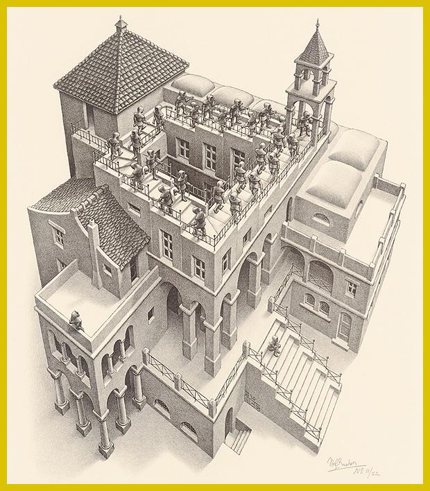 Lépcsőn fel és le, litográfia (kőnyomat) 1960. - M. C. Escher