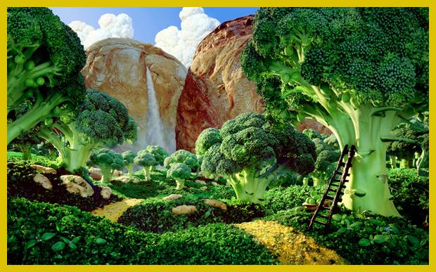 a kenyér hegyből forrás fakad, a hegyek előtt brokkoli fák tövében hűsölhet a vándor