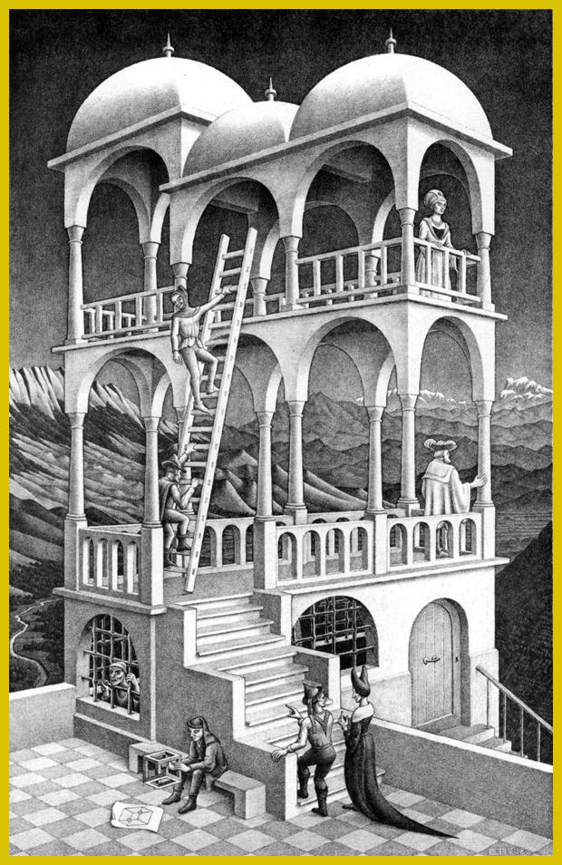 M.C. Escher - Belvedere, litográfia, 1958.