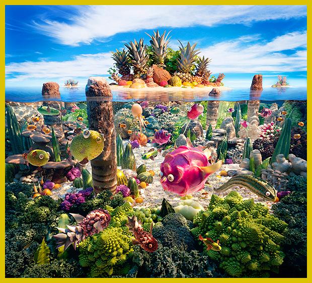 koralzátony gyümölcsökből - ehető tájképek