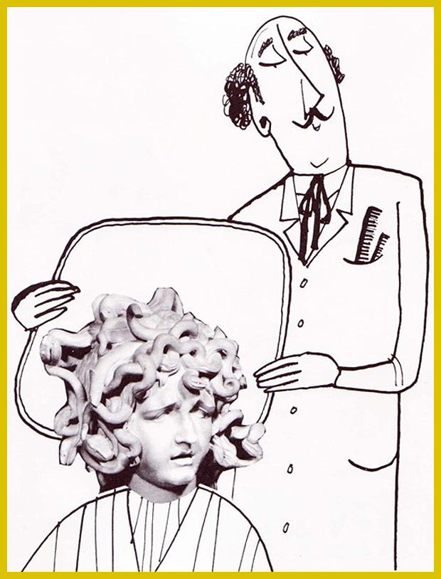 Medúza - Bernini alkotása - a szobor Rómában, a Palazzo dei Conservatori épületében látható - humoros kollázsok egy gyerekkönyvből