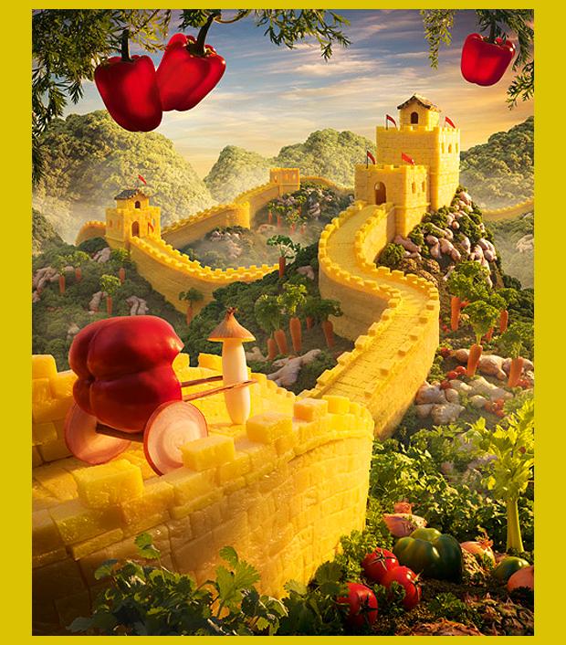 a kínai Nagy Fal zöldségekből, gyümölcsökből - ehető építészeti emlékek