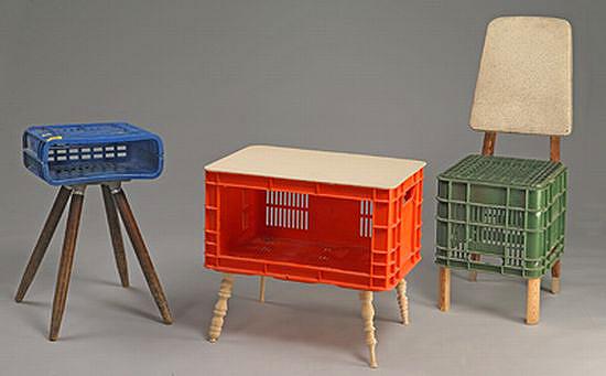 műanyag ládából bútorok - re-bútor