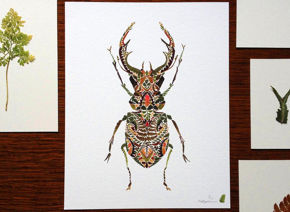 állatok  gyönyörű levélből készült mozaikképei