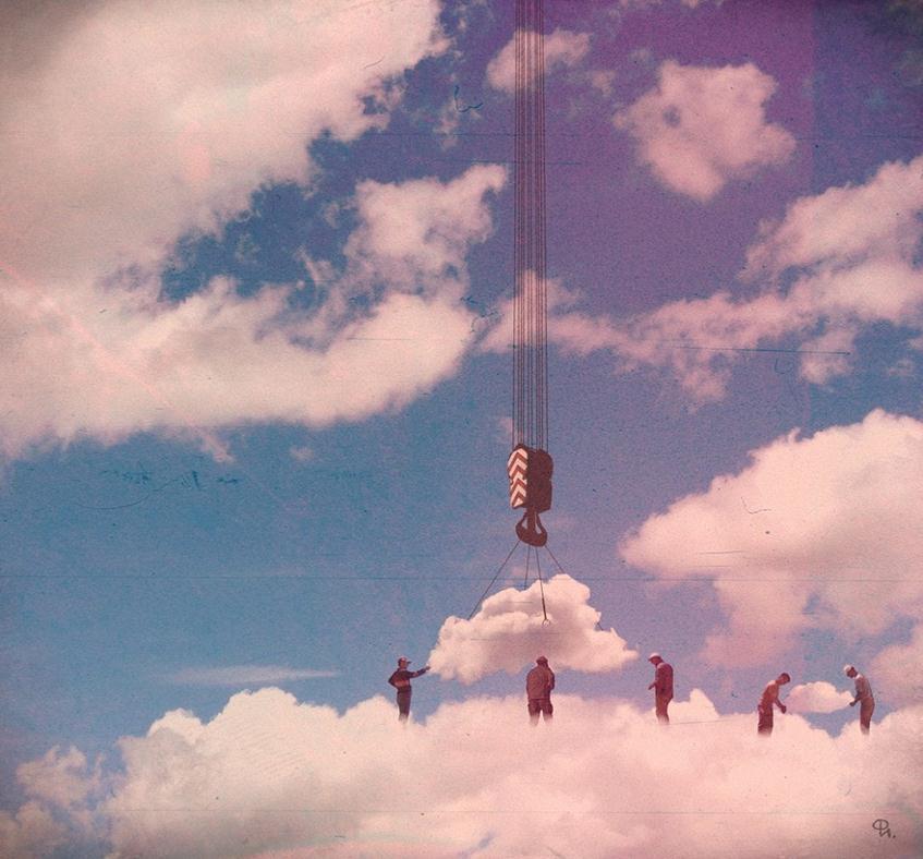 felhők felett - Philipp Igumnov szürreális kollázsai