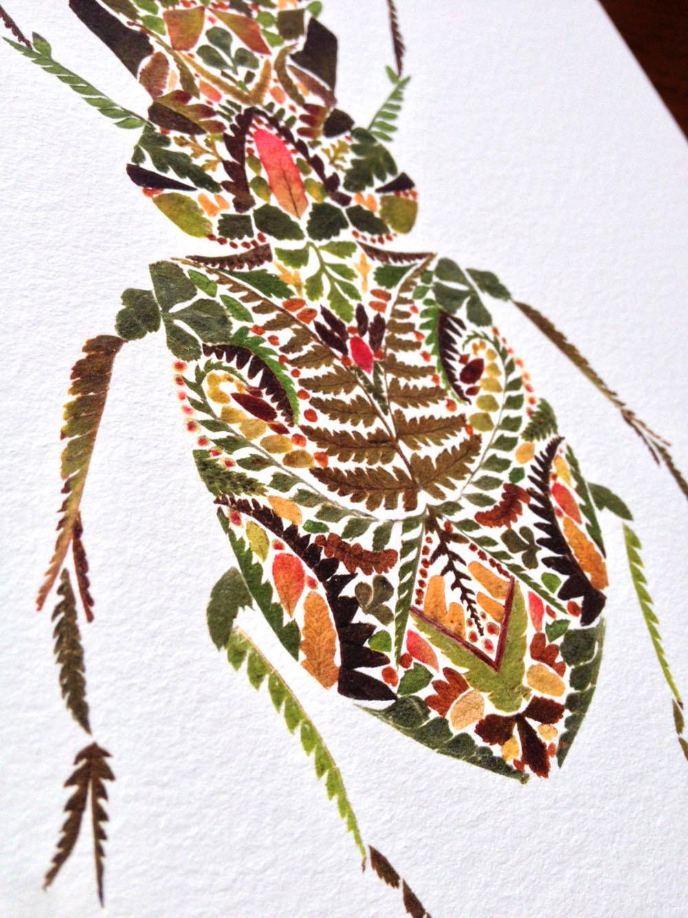 szarvasbogár préselt levelekből