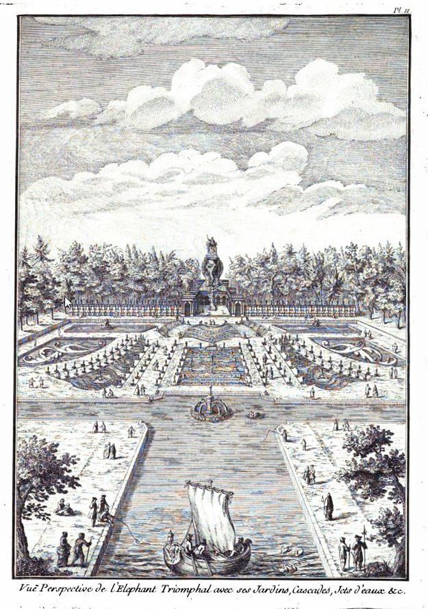 hatalmas szökőkút terve a a Champs-Élysées végpontjára a mai Charles de Gaulle térre