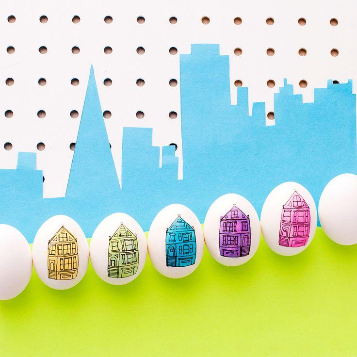 színes házak - húsvéti tojásfestés