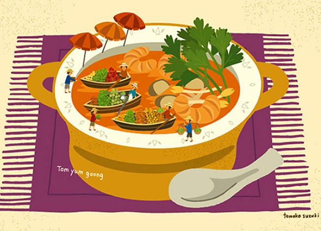 úszópiac a tányérban - thai leves - különleges illusztrációk