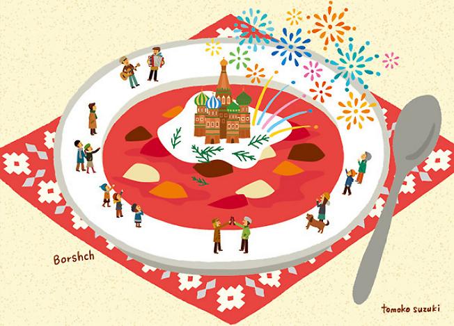 borscs - orosz céklaleves - játék az ebéddel