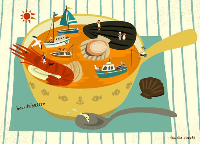 tenger gyümölcsei leves - vidám illusztrációk