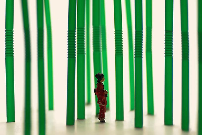 bambusz erdő szívószálakból