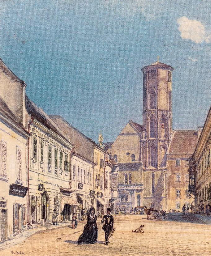 1896-ban fejeződött be Budapest egyik templomának átépítése. A képen az 1872-ben kezdődött munkálatok előtti állapot látható. Melyik templomról van szó?